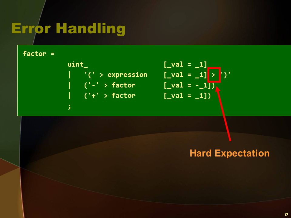 Error Handling factor = Hard Expectation uint_ [_val = _1]